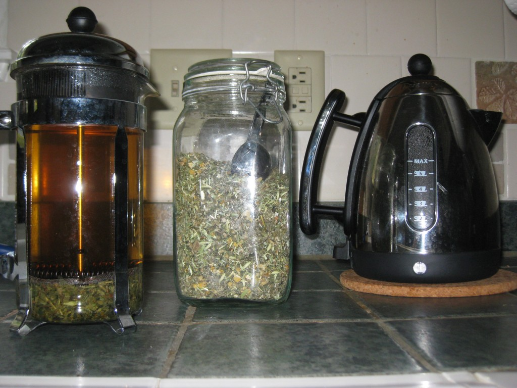 Stinging nettle infusion using a French Press.